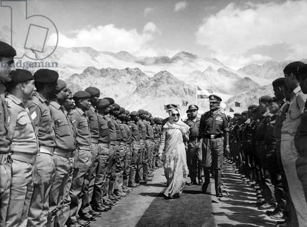 Indian Prime Minister, Indira Gandhi, reviewing soldiers, 1980
