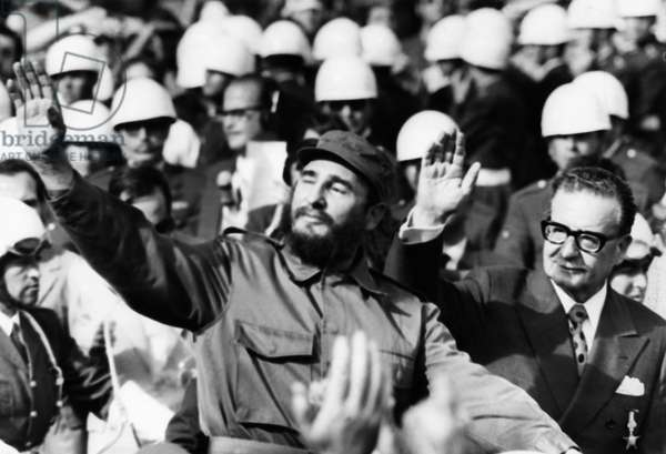 Fidel Castro of Cuba with President Salvador Allende Upon his Arrival at Pudahuel Airport in Santiago on November 10, 1971.