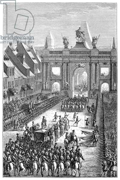 FRANCE: PROCESSION, 1744 The entry of Louis XV into Strasbourg, France. Engraving, c.1875.