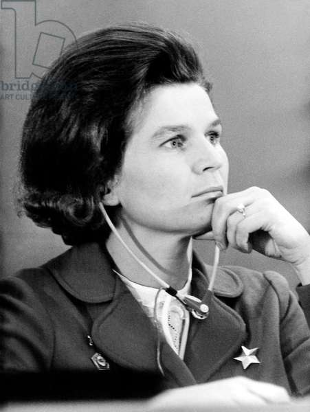 Soviet Cosmonaut Valentina Tereshkova during 37Th Cgt Trade Union Congress in Vitry, Near Paris November 17, 1969 (b/w photo)