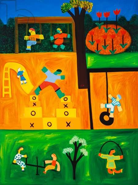 The playground,2001,(oil on linen)