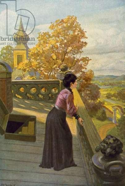 Illustration for Jane Eyre by Charlotte Bronte (colour litho)