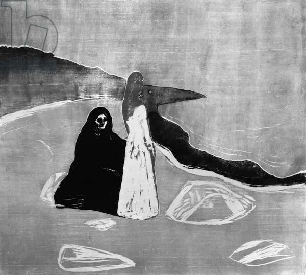 Two Women on the Shore (woodcut)