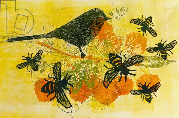 Birds and bees,2019  (monoprint on paper)