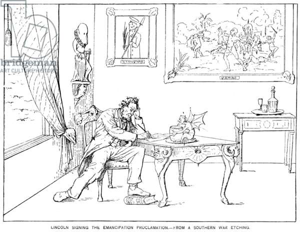 EMANCIPATION CARTOON Abraham Lincoln signing the Emancipation Proclamation - a Southern point of view. Reproduction of an etching from Adalbert J. Volck's 'Confederate War Etchings.'
