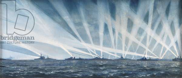 Searchlights at Spithead (w/c on paper)