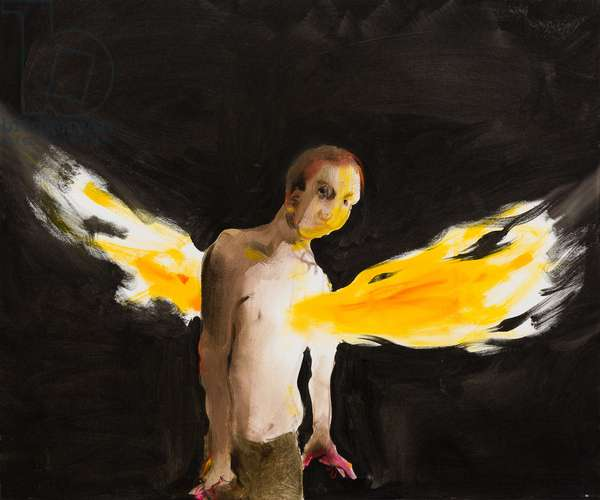 Boy with burning heart, 2014, oil on canvas