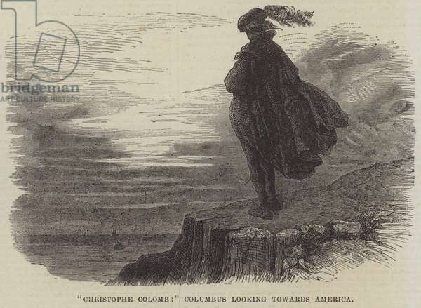 """""""Christophe Colomb,"""" Columbus looking towards America (engraving)"""