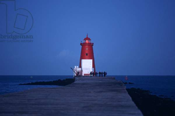 Poolbeg lighthouse, referred to by James Joyce in 'Ulysses' as 'The Poolbeg Flasher', Dublin, Ireland (photo)