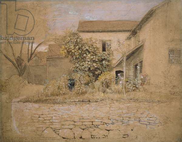 A House and Garden at Tintern, 1835 (pen & ink, w/c & bodycolour over graphite & black chalk on pinkish buff paper)