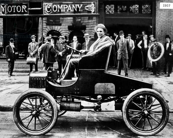Henry Ford In Model T (b/w photo)