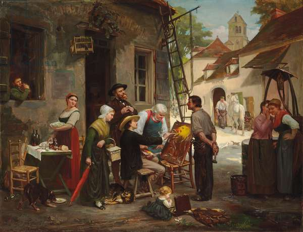 A New Sign for the Old Inn, 1870 (oil on canvas)