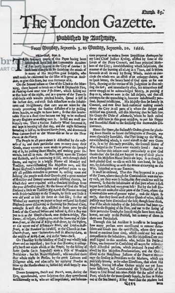 The London Gazette, Great Fire of London