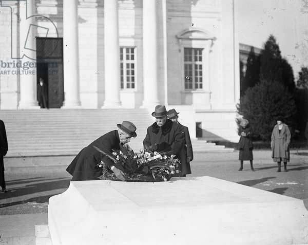 Georges Clemenceau Placing Wreath on tomb of the Unknown Soldier, Arlington National Cemetery, Arlington, Virginia, USA, December 6, 1922 (b/w photo)