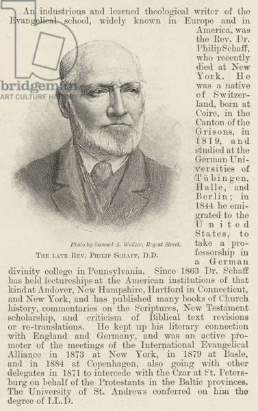 The late Reverend Philip Schaff, DD (engraving)