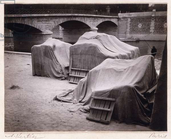 Behind Notre-Dame (Covered Chairs), Paris, 1925 (gelatin silver print on carte postale, mounted on vellum)