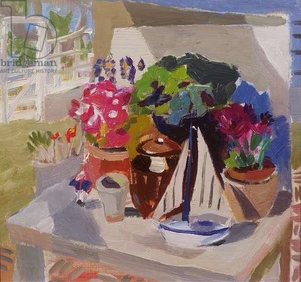 Flowers, Pots & Yachts in the Loggia (oil on board)