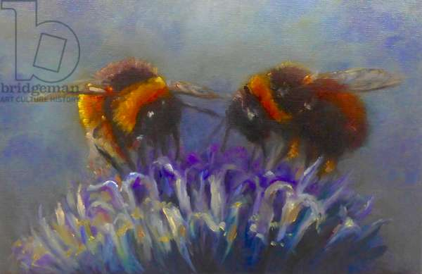 Two Bees, 2019, (oil on canvas)