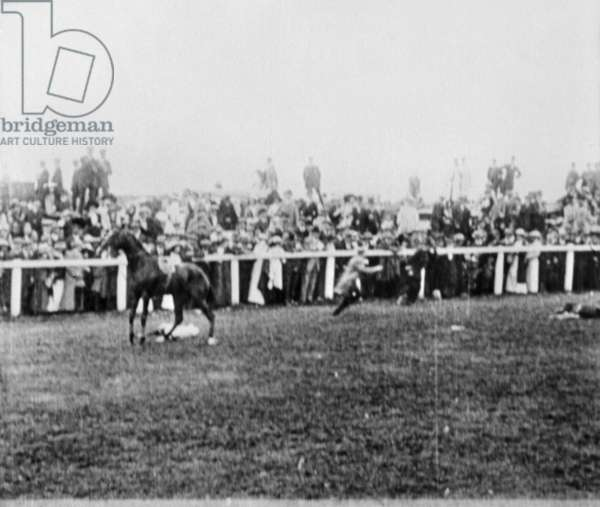 WOMEN'S RIGHTS: DERBY 1913 The scene at the Epsom Derby moments after militant suffragette Emily Wilding Davison threw herself before the King's horse, 4 June 1913. Miss Davison, who later died and jockey Herbert Jones, who sustained minor injuries, lie on the track.