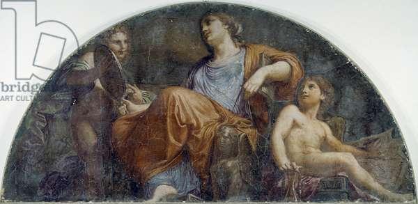 Prudence, fresco by Andrea Appiani (1754-1817). Villa Carlotta, Tremezzo. Italy, 18th century.