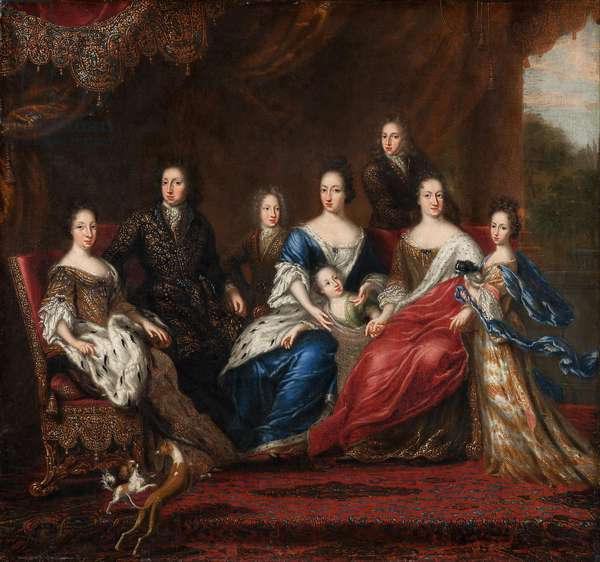 Charles XI's family with relatives from the duchy Holstein-Gottorp, 1691 (oil on canvas)