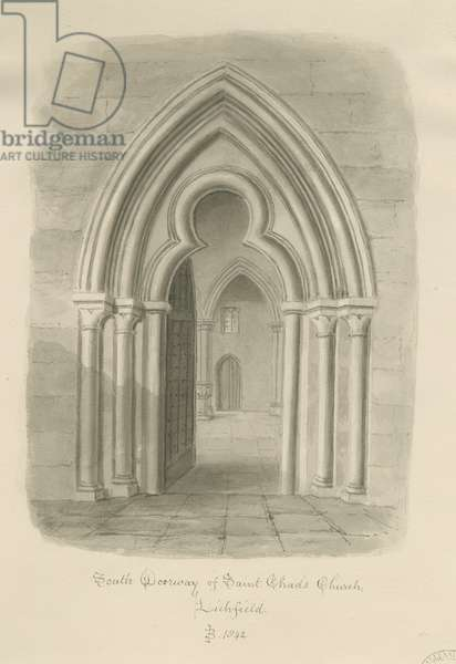 Lichfield - South Doorway of St. Chad's Church: sepia drawing, 1842 (drawing)
