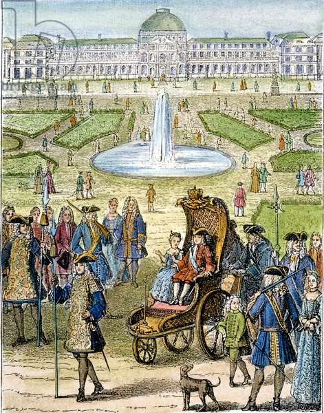 LOUIS XV (1710-1774) King of France, 1715-1774. The child king going for a ride in the garden of the Tuilleries in Paris. Wood engraving, French, 19th century.
