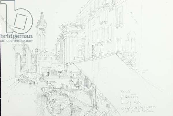 Rio di S. Barnata, Venice, 1964 (pencil on paper)