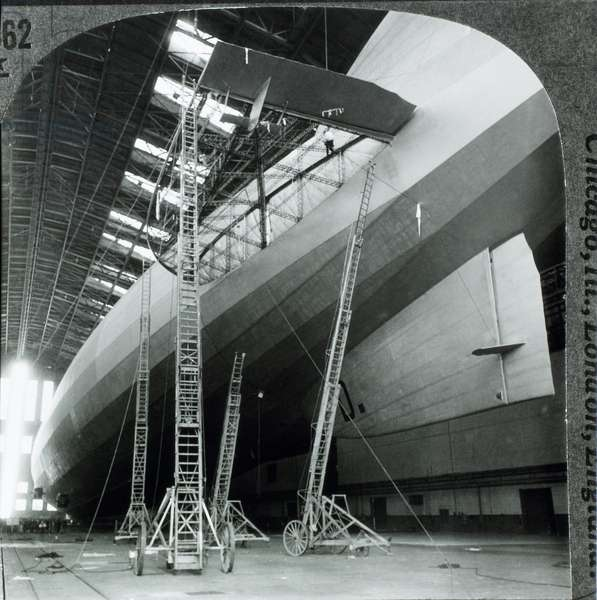 Graf Zeppelin with Damaged Fin, First Airship to Cross Atlantic Ocean, Lakehurst, New Jersey, USA, Where it Arrived October 15, 1928