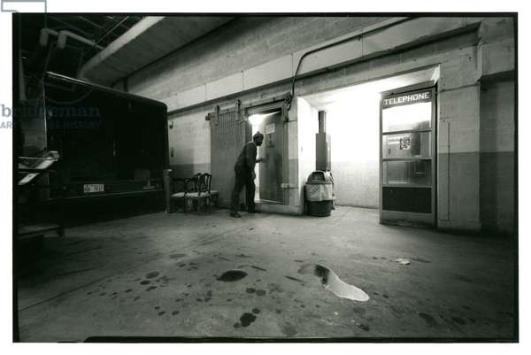 The door in the basement of the infamous Watergate building through which the burglars gained access, 22nd February, 1974 (b/w photo)