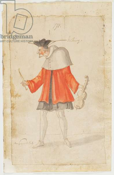 A Musician from the Ballet du Serieux et du Grotesque, 1627 (brown ink & w/c on laid paper)