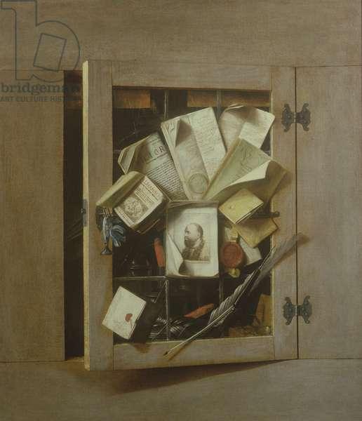 A Trompe l'Oeil of an Open Cupboard, 1665 (oil on canvas)