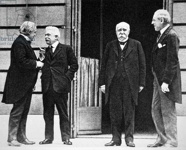 Council of Four at Treaty of Versailles, 1919 (b/w photo)