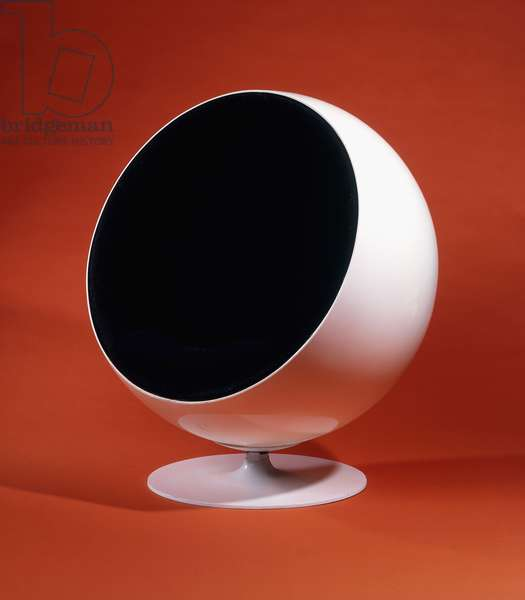 A Globe chair, 1966 (white moulded polyester, aluminium, black fabric)