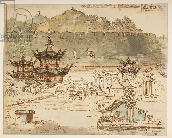 f.59 148v 'Opposite the city Shin-ring in ye City Liu-shung. Sin-chung Nov 16. Wall, Pagoda etc.', from an Album of 372 drawings of landscapes, coastlines, costumes and everyday life made during Lord Macartney's embassy to the Emperor of China, between 1792 and 1794 (pencil & w/c on paper)