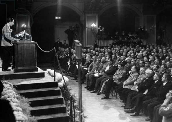 Joseph Goebbels announces the establishment of the Reichskultursenat (Reich Cultural Senate), 1935 (b/w photo)