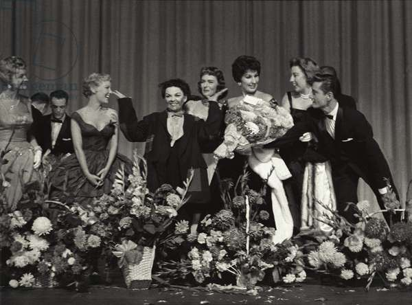Conclusion of Judy Garland's opening night, Dominion Theatre, London (b/w photo)