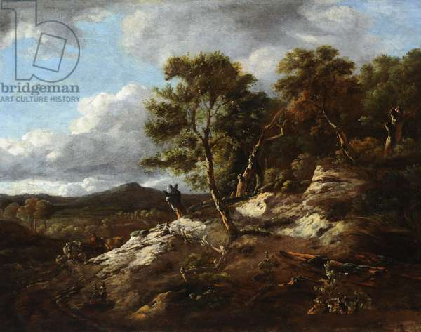 A Rocky Wooded Landscape (oil on canvas)