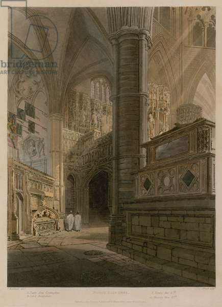 North East Area, Westminster Abbey, London (coloured engraving)