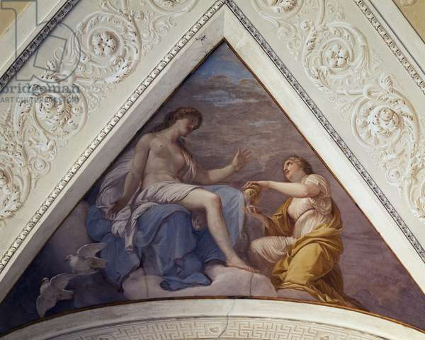 Story of Psyche, fresco by Andrea Appiani (1754-1817) on ceiling of Rotunda of Villa Reale, Monza, Detail, Italy, 18th century