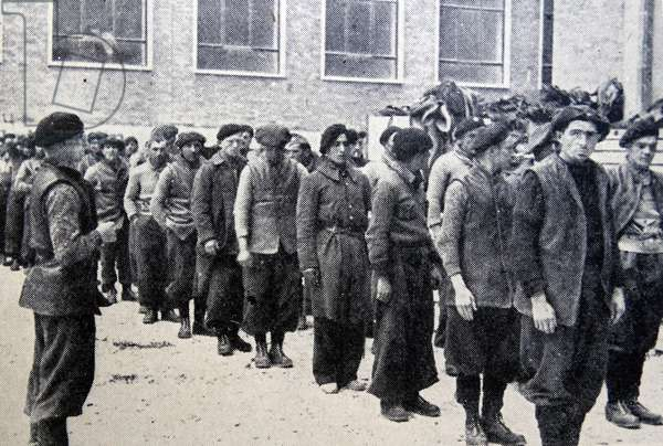 Carlist soldiers on a parade ground during the Spanish Civil War