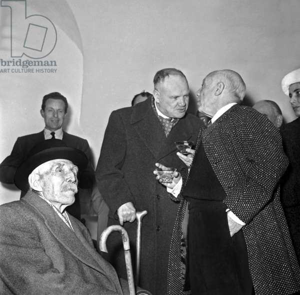 Pablo Picasso (1881-1973) Is Made Freeman of Town of Antibes (France) in Presence of Maurice Thorez February 25, 1957 in Presence of Marcel Cachin (b/w photo)