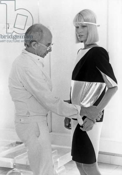 French Couturier Andre Courreges Presenting A Geometric Dress July 19, 1983 (b/w photo)