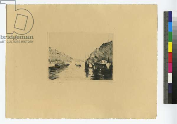 Canal in Holland with anchored boats, 1923 (etching)