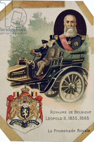 King Leopold II of Belgium in a motorcar, 1895