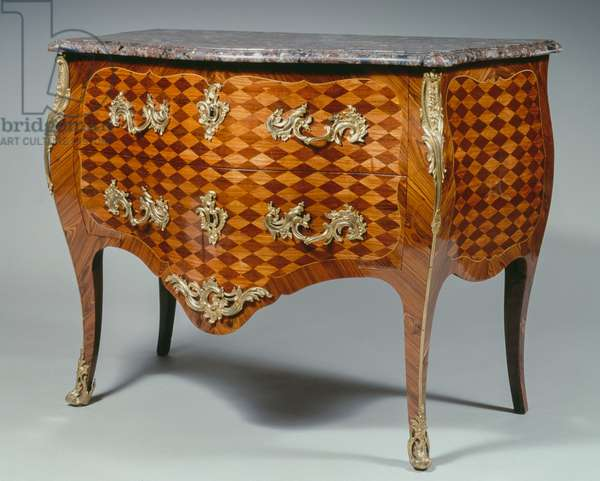 Louis XV style commode, in veneered and inlaid rosewood in stylized cubes on amaranth background, red marble top, two drawers, arched legs and gold bronze ornaments, stamped by J B Galet, 90x114x60cm, France, 18th century