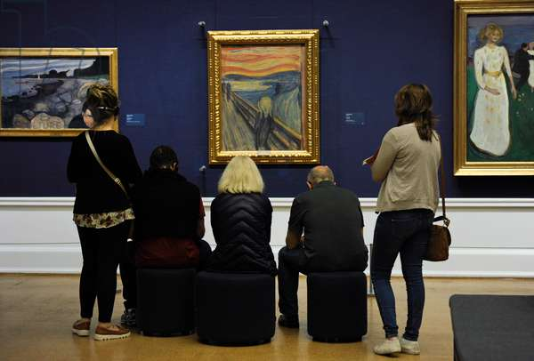 Norway, Oslo, National Gallery, Visitors contemplating The Scream, 1893