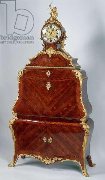 Louis XV style Second Empire (Napoleon III) drop leaf secretary plated with geometric and clock designs, 19th century, France