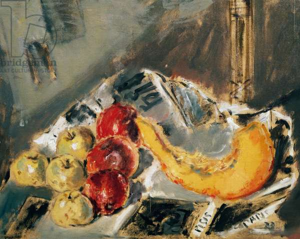 Still life with apples, 1933, by Filippo de Pisis (1896-1956), oil on canvas, 50x65 cm. Italy, 20th century.