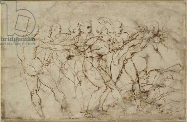 A battle of nude warriors with captives, WA1846.179 (pen & brown ink over black chalk)
